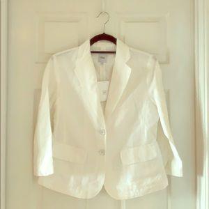 GAP White Linen/Cotton 3/4-Sleeve Jacket